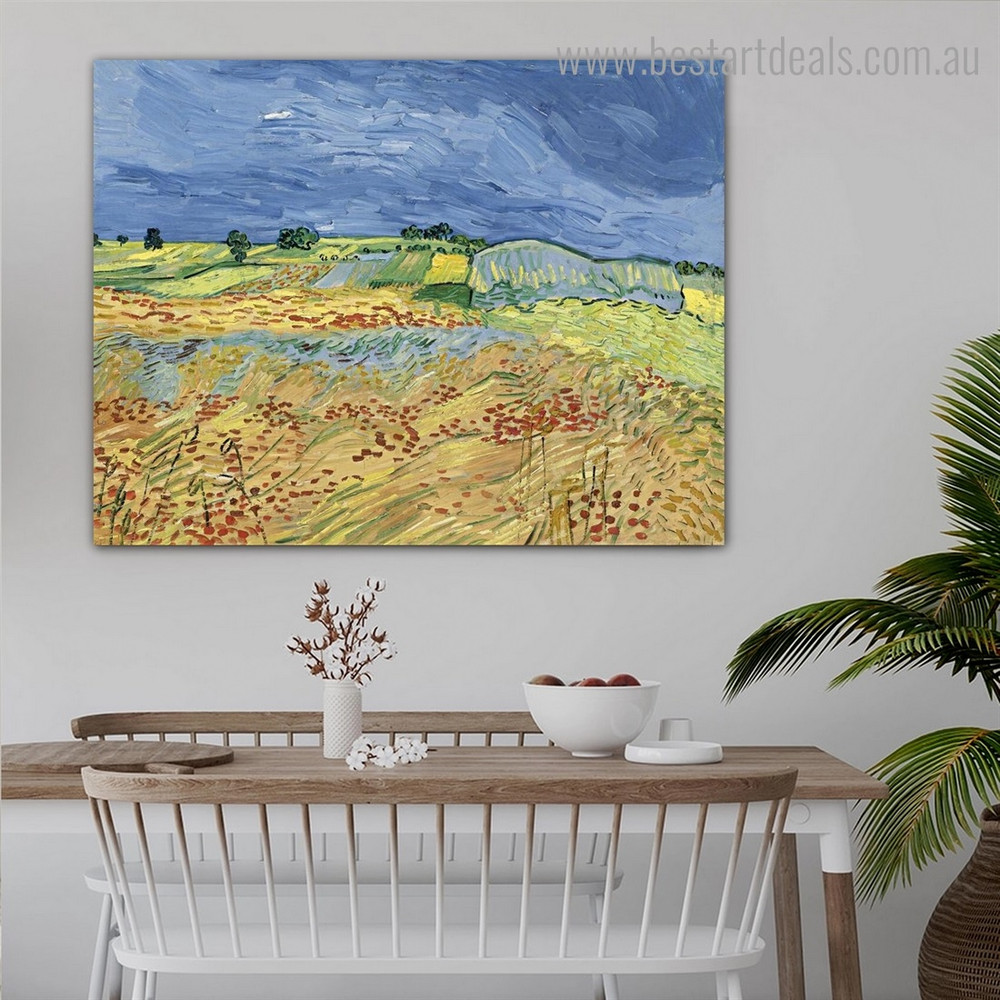 Blooming Poppies Van Gogh Reproduction Framed Painting Portrait Canvas Print for Room Wall Disposition