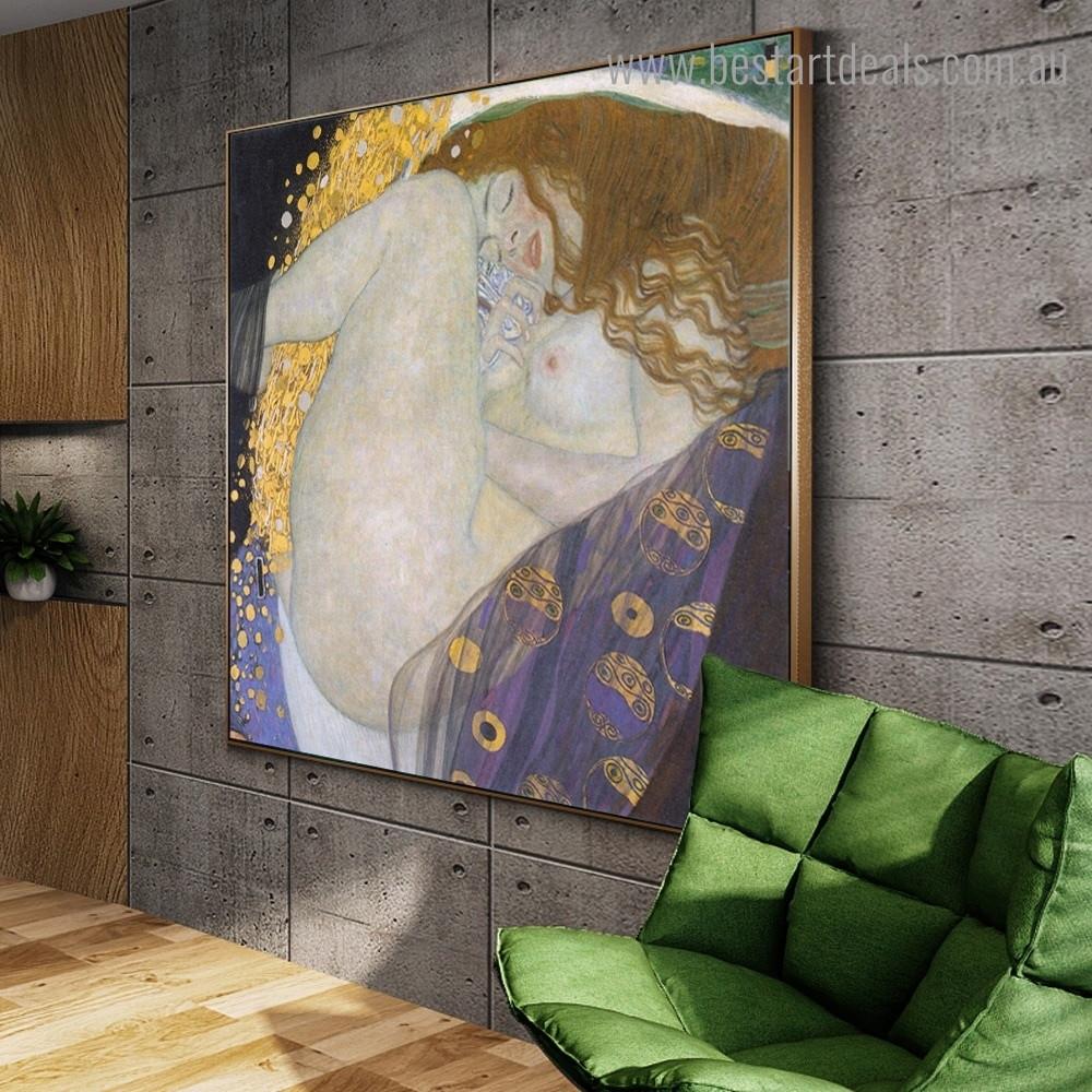 Portrait of Danae Gustav Klimt Framed Artwork Photo Canvas Print for Room Wall Getup
