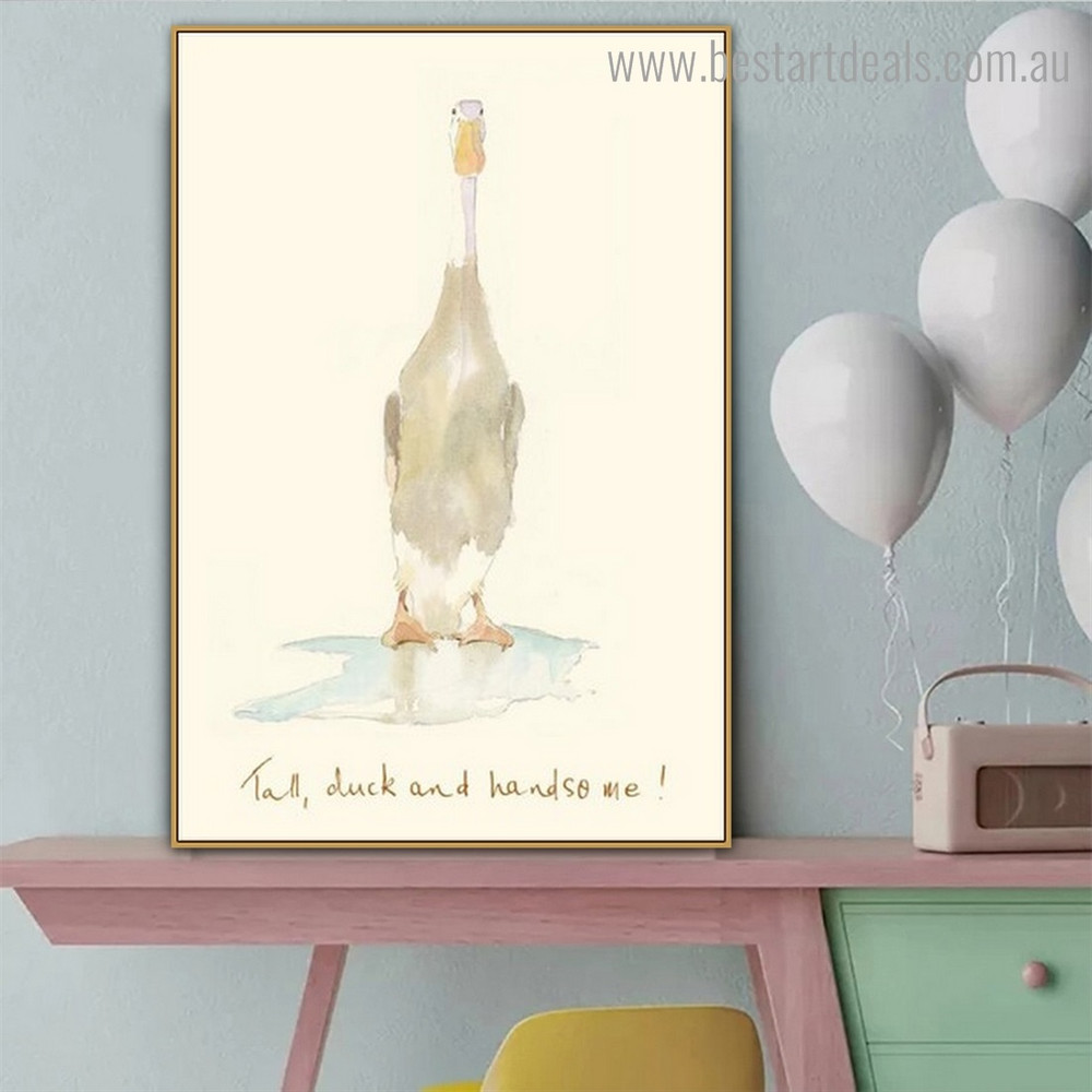 Duck and Handsome Abstract Bird Framed Painting Picture Canvas Print for Room Wall Decor