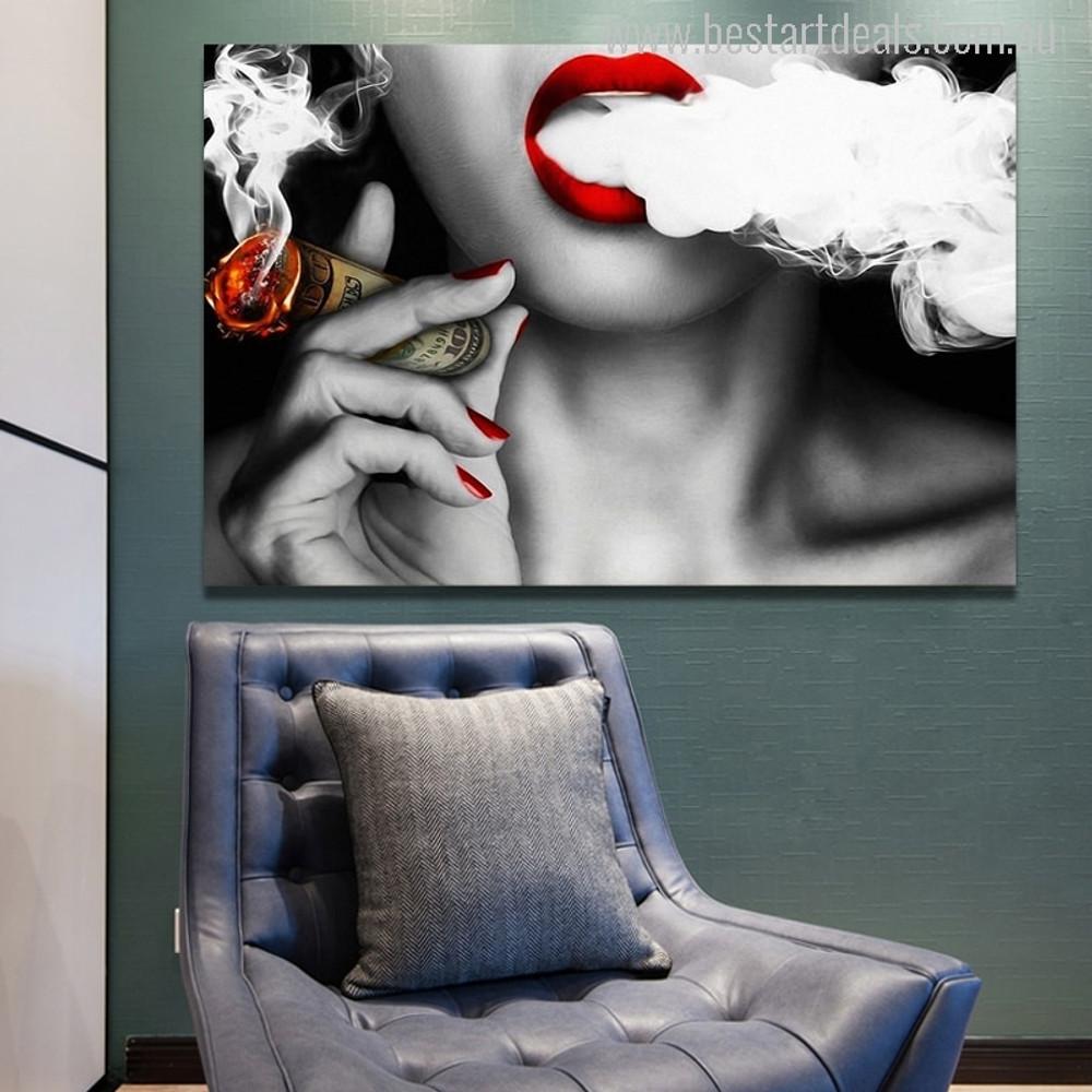 Women Smoke Contemporary Picture Print
