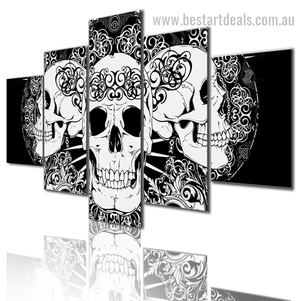 Abstract Skulls Ilustration Modern Framed Effigy Pic Canvas Print