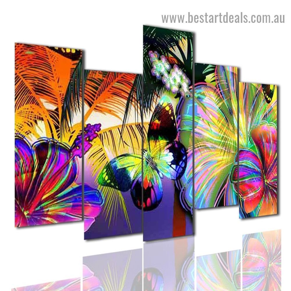 Abstract Butterflies Animal Botanical Modern Artwork Split Canvas Print for Room Wall Garniture
