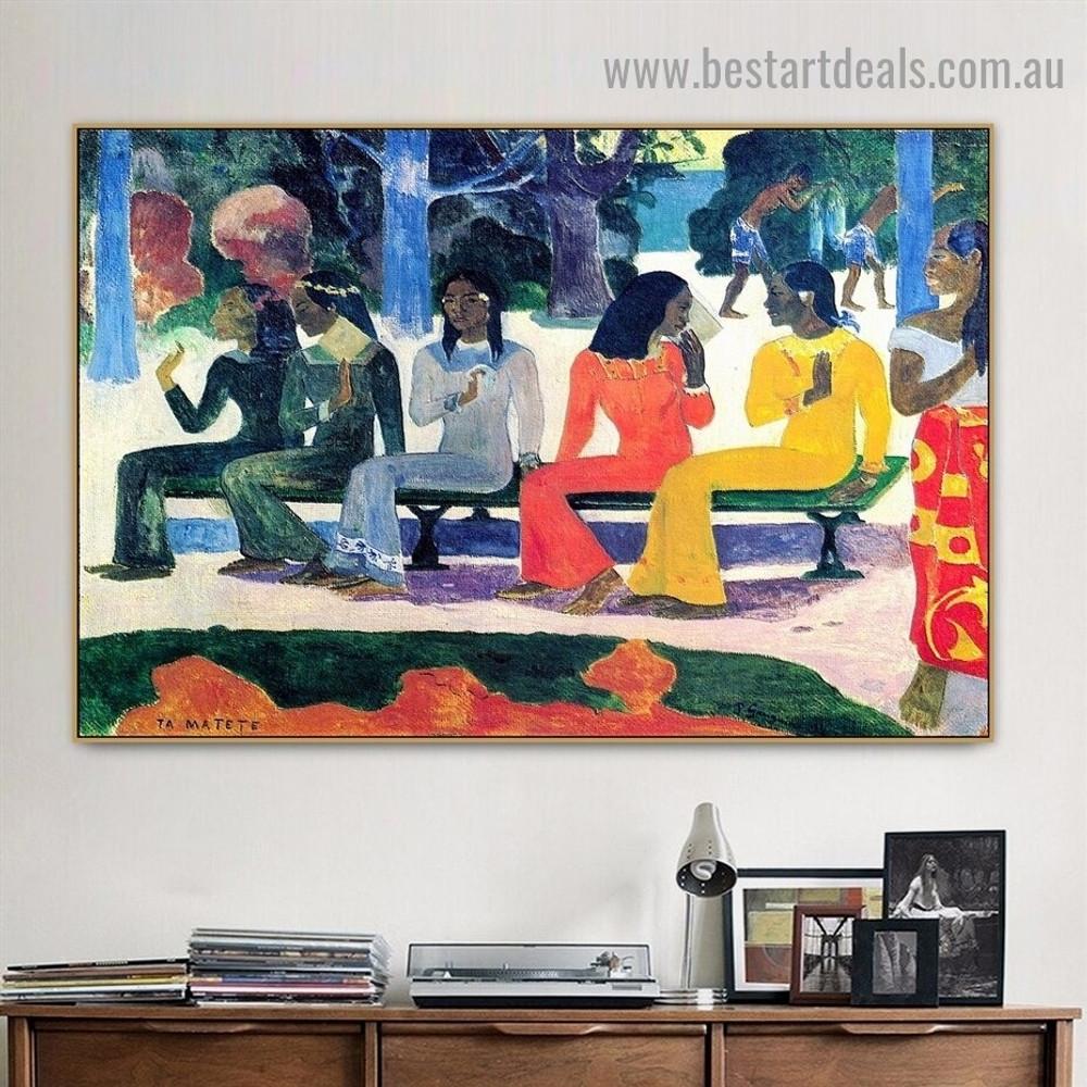 We Shall Not Go to Market Today Eugène Henri Paul Gauguin Figure Landscape Impressionist Artwork Image Canvas Print for Room Wall Garniture