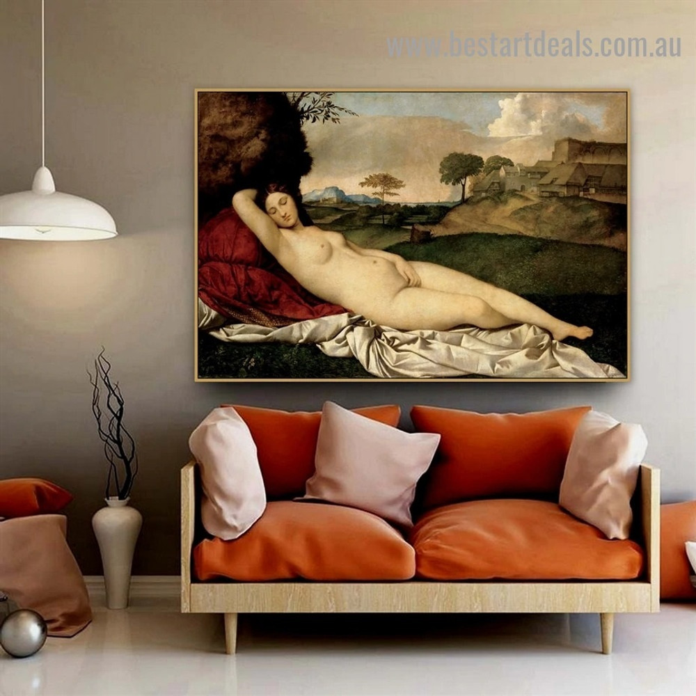 The Sleeping Venus Giorgione Nude Landscape High Renaissance Reproduction Artwork Portrait Canvas Print for Room Wall Décor