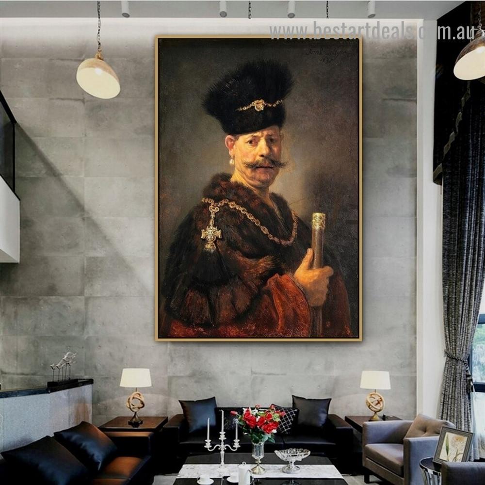 Polish Nobleman Rembrandt Figure Baroque Reproduction Artwork Image Canvas Print for Room Wall Decoration