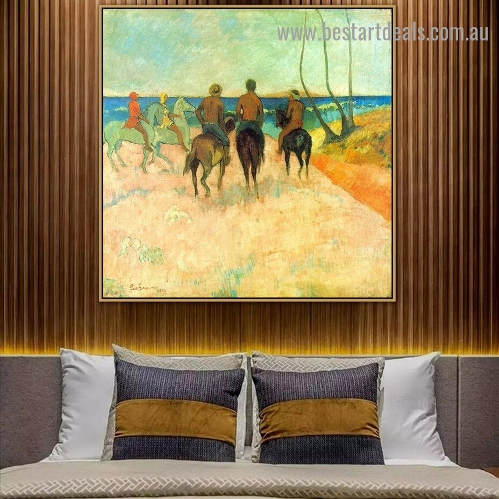 Riders on the Beach I Paul Gauguin Animal Figure Landscape Post Impressionism Portrait Picture Canvas Print for Room Wall Decoration