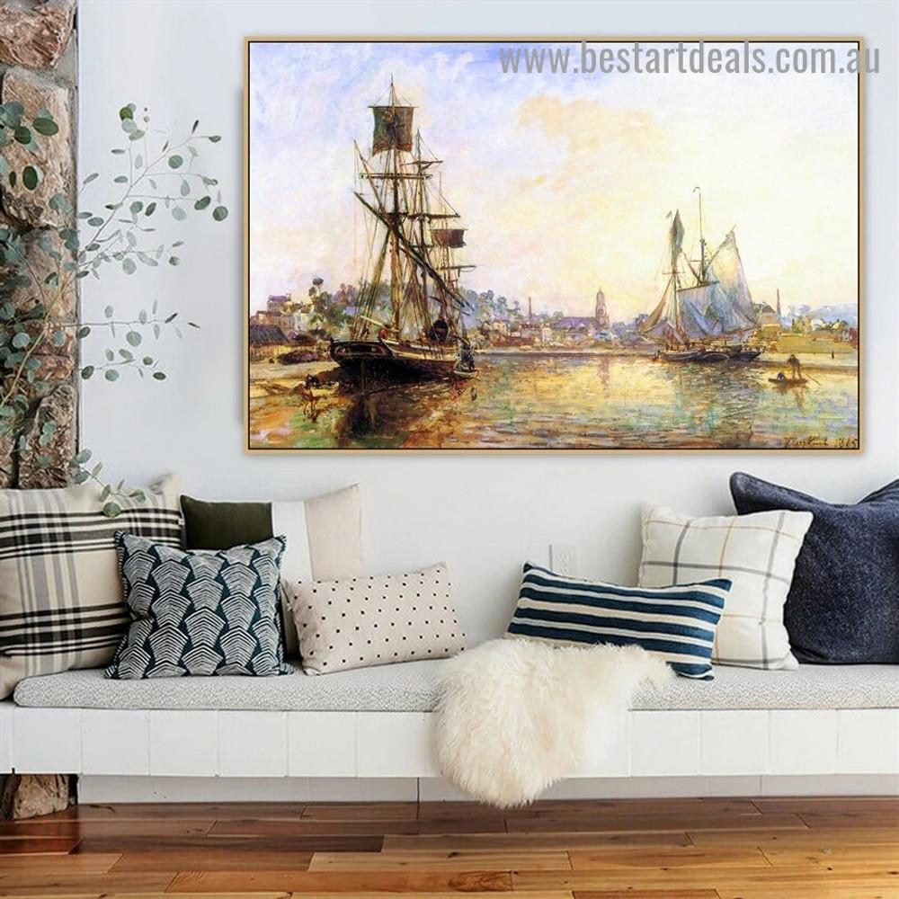 Honfleur Johan Jongkind Landscape Impressionism Reproduction Artwork Photo Canvas Print for Room Wall Ornament