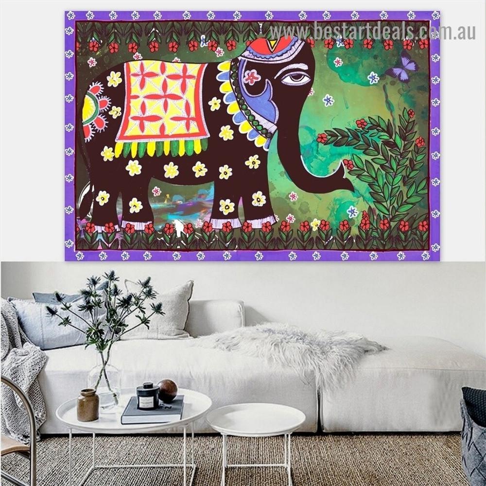 Madhubani Mithila Elephant Botanical Animal Landscape Traditional Portrait Picture Canvas Print for Room Wall Flourish