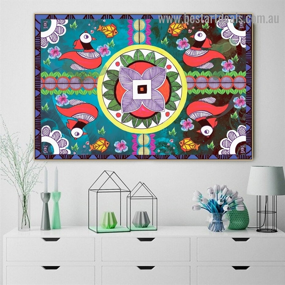 Fish & Duck Pattern Botanical Animal Bird Traditional Artwork Photo Canvas Print for Room Wall Garniture