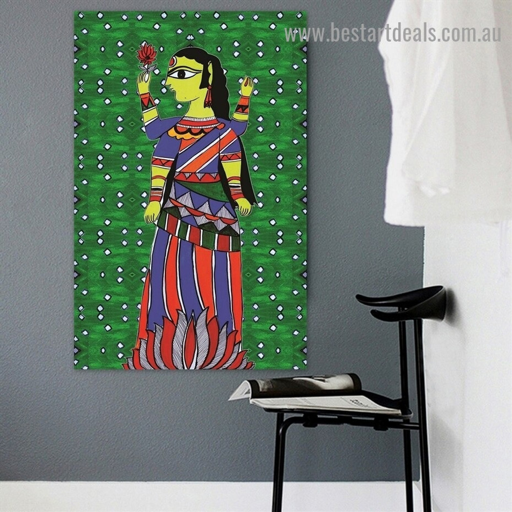Durga Maa Design Religion & Spirituality Botanical traditional Portrait Picture Canvas Print for Room Wall Garnish
