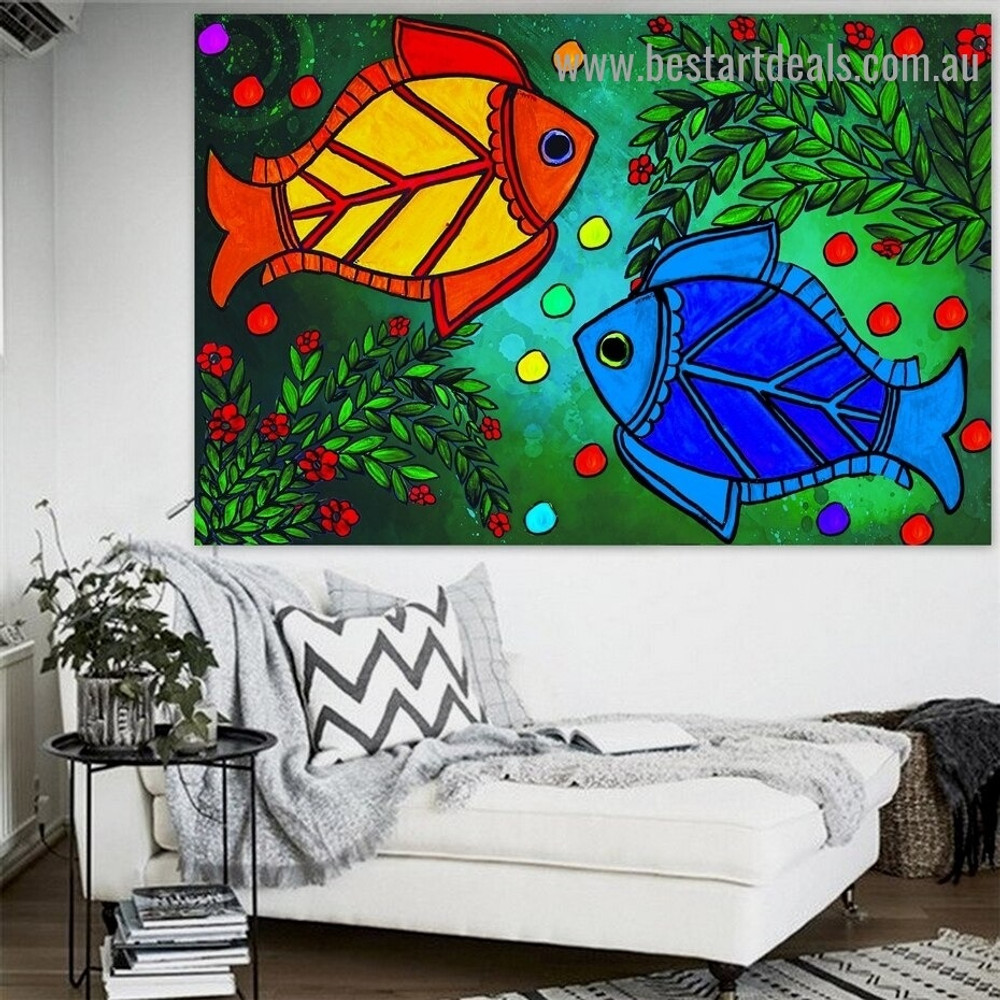 Colorful Fishes Botanical Animal Traditional Portrait Photo Canvas Print for Room Wall Adornment