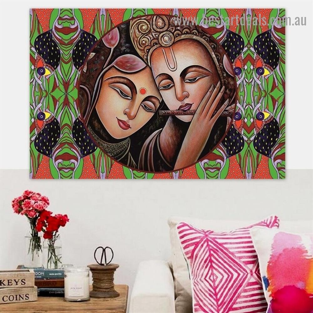 Portrait of Radha Krishna Religion & Spirituality Traditional Portrait Image Canvas Print for Room Wall Decor
