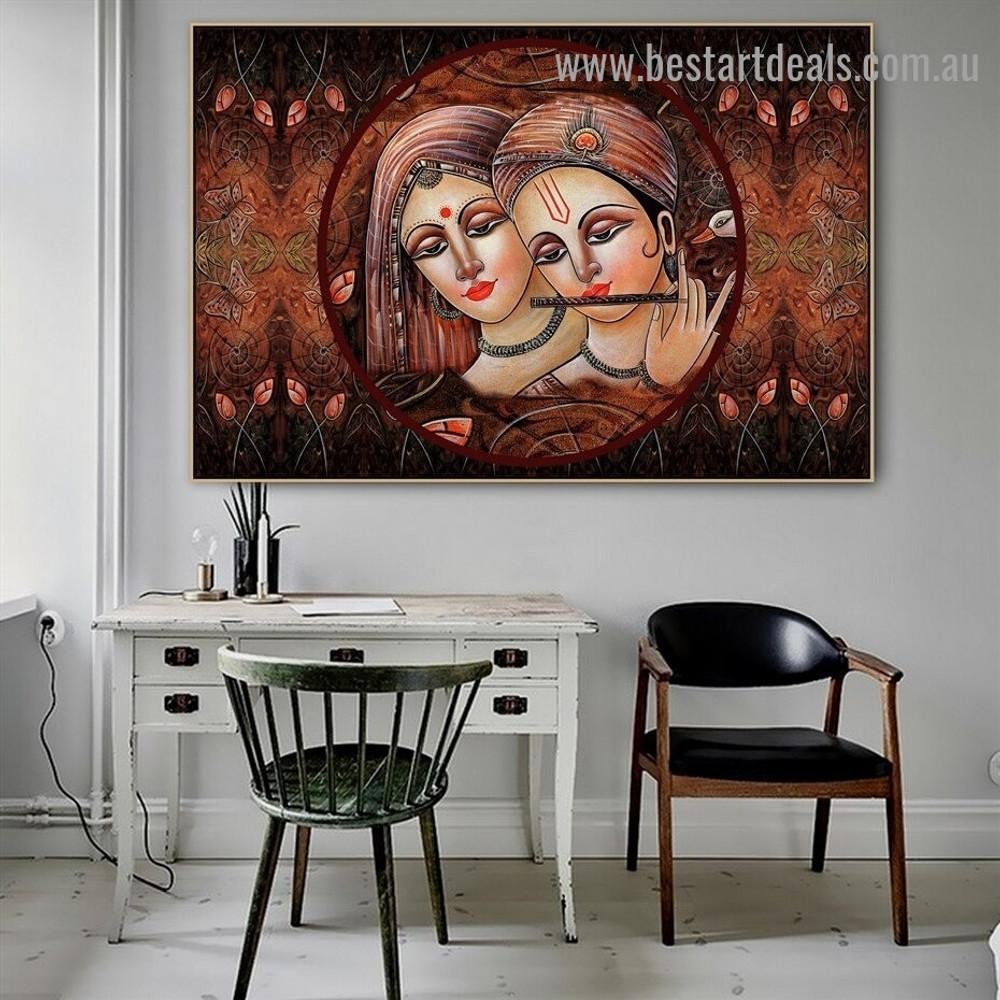 Lord Radha Krishna Religious Traditional Artwork Image Canvas Print for Room Wall Garnish