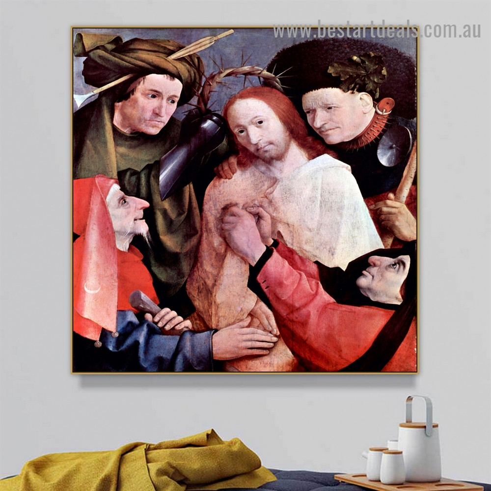 Crowned with Thorns Hieronymus Bosch Religious Northern Renaissance Reproduction Portrait Painting Canvas Print for Room Wall Garniture