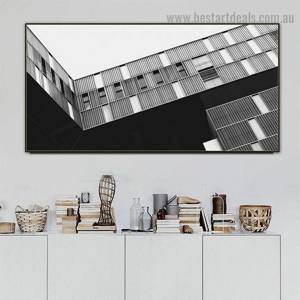 Windows Building Architecture Modern Framed Artwork Image Canvas Print for Room Wall Drape