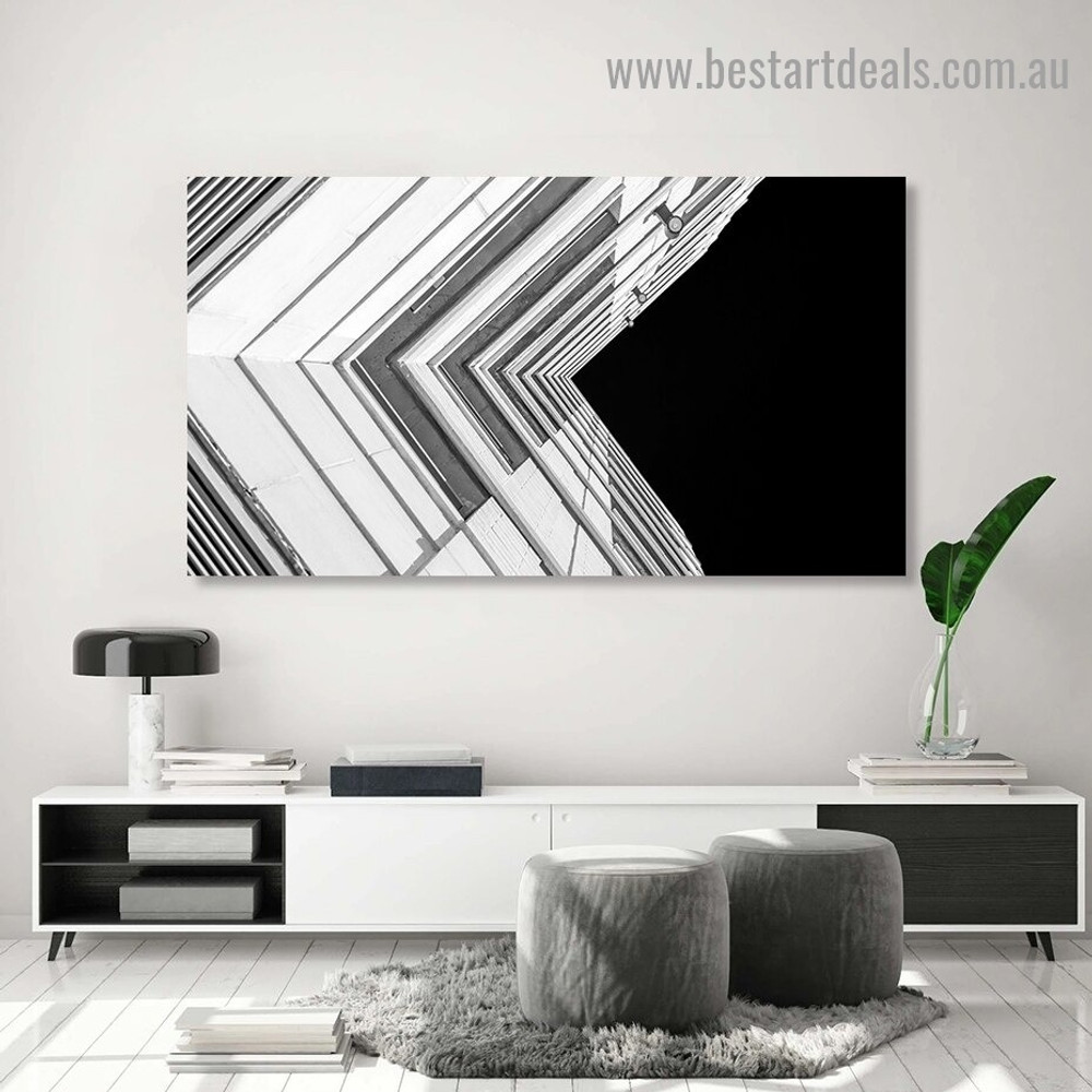L Shape building Architecture Modern Framed Portrait Photo Canvas Print for Room Wall Garnish