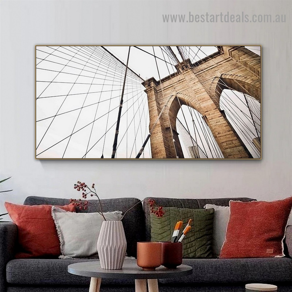 Modern Bridge Architecture Framed Artwork Picture Canvas Print for Room Wall Decoration