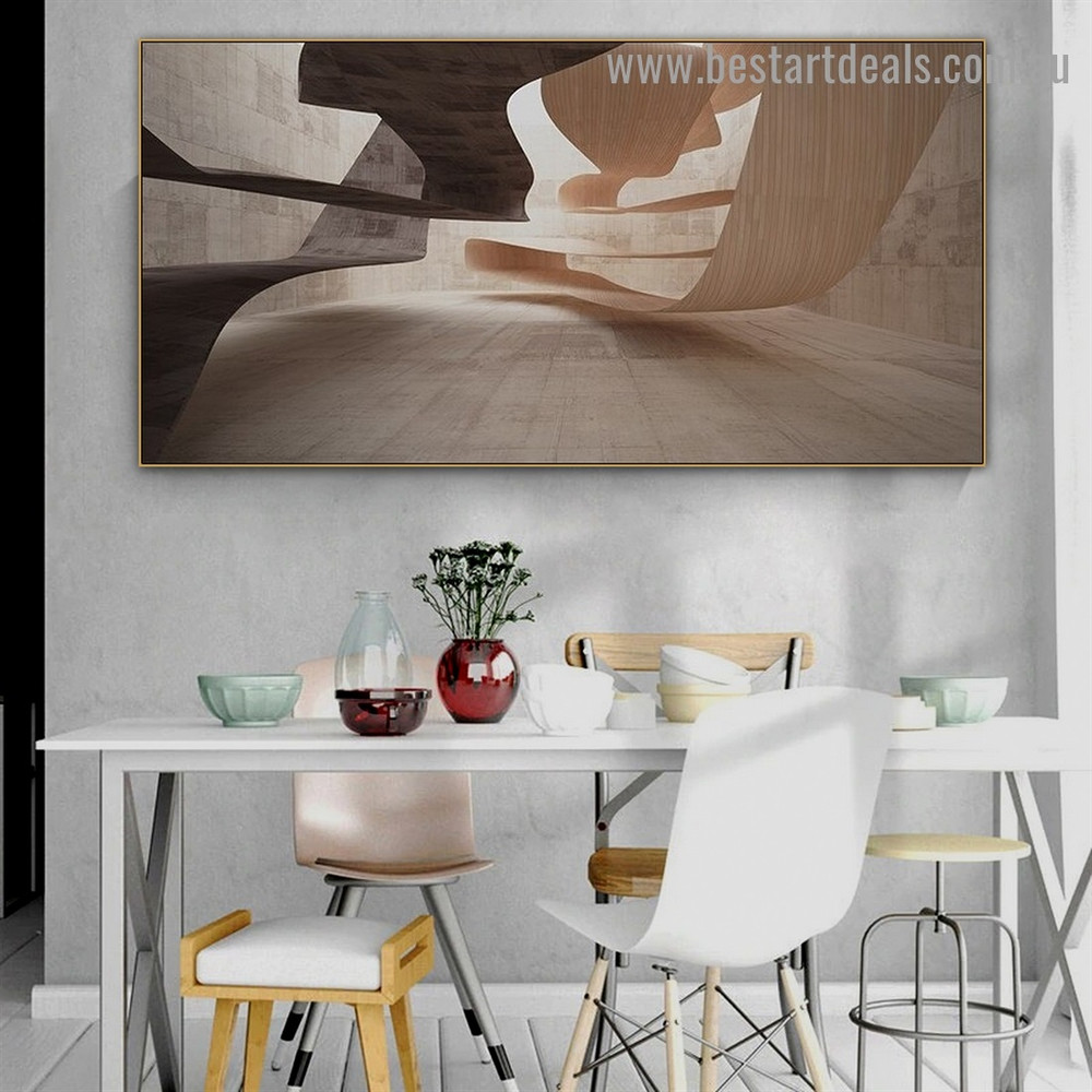 Concrete Wood Design Abstract Architecture Modern Framed Portrait Painting Canvas Print for Room Wall Garniture