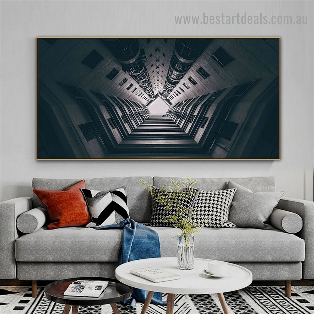 Long Buildings Architecture Modern Framed Artwork Painting Canvas Print for Room Wall Garnish