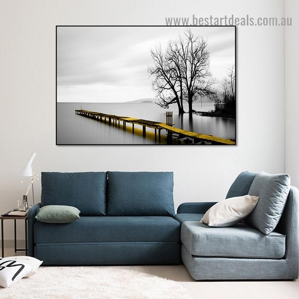 Lakeside Scene Botanical Landscape Modern Framed Artwork Image Canvas Print for Room Wall Garnish