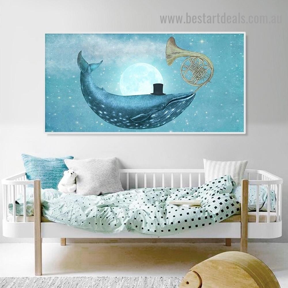Starry Sky Dolphin Animal Fantasy Modern Framed Portrait Photo Canvas Print for Room Wall Decoration