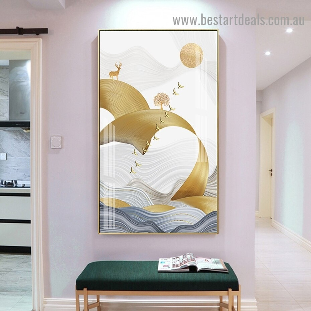 Flying Birds Group Abstract Modern Framed Portrait Picture Canvas Print for Room Wall Decor