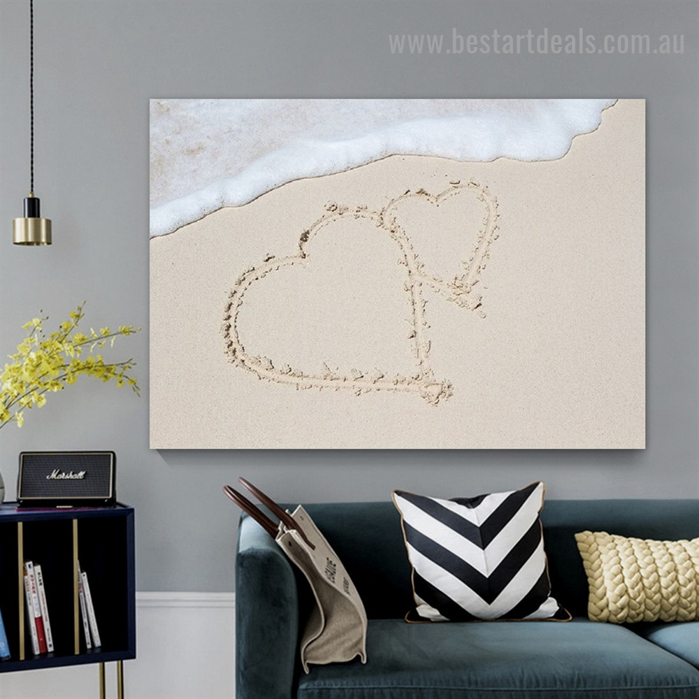 Heart Beach Landscape Modern Framed Portrait Painting Canvas Print for Room Wall Adornment