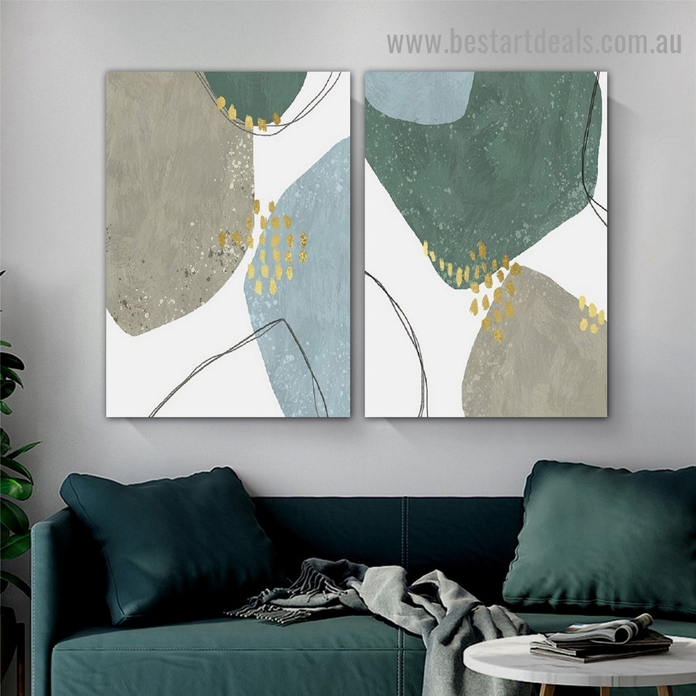 Strolling Smirch Abstract Modern Framed Portrait Picture Canvas Print for Room Wall Garniture