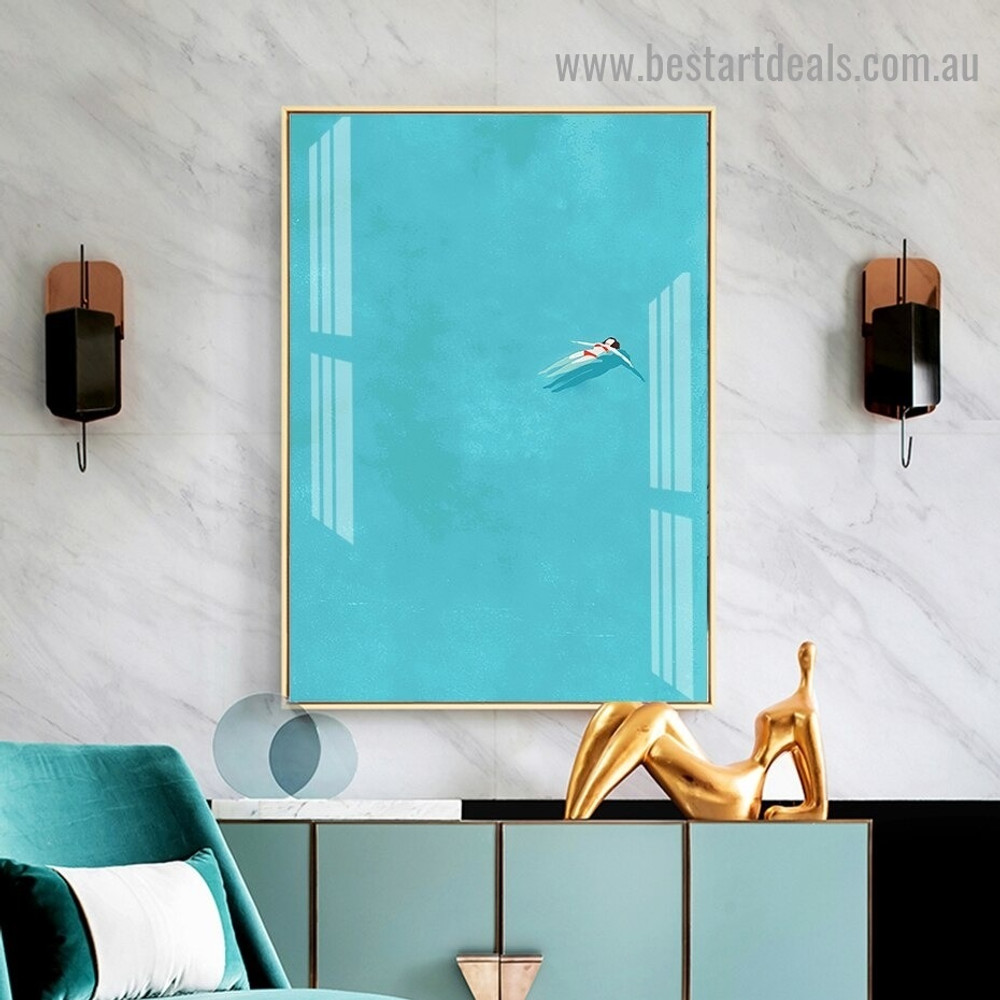 Swimming Pool Girl Figure Minimalist Modern Framed Artwork Photo Canvas Print for Room Wall Ornament