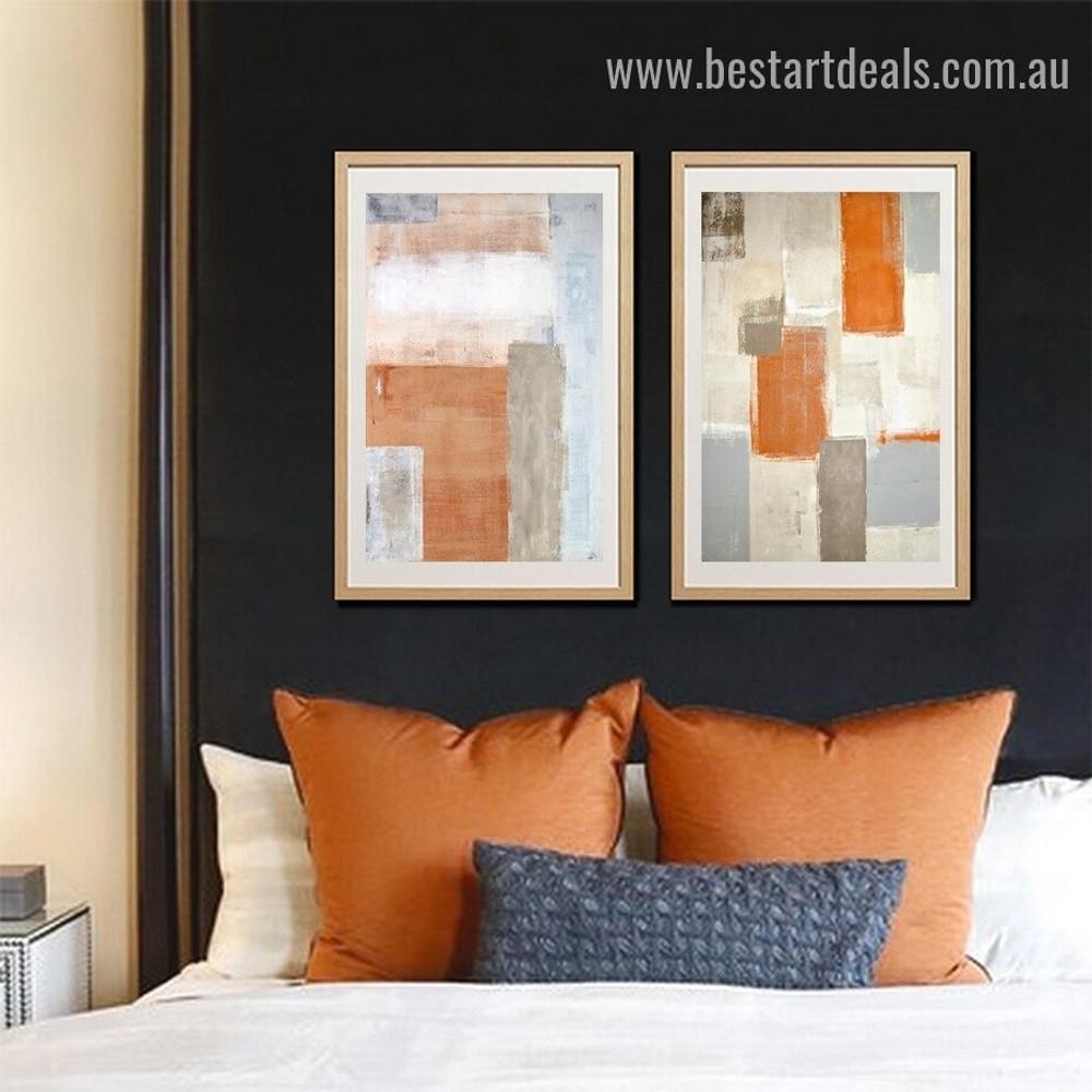 Dapple Brush Blot Abstract Modern Framed Portrait Painting Canvas Print for Room Wall Garniture