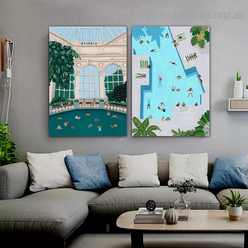 Swimming Pool Seaside Architecture Illustration Modern Framed Artwork Picture Canvas Print for Room Wall Spruce