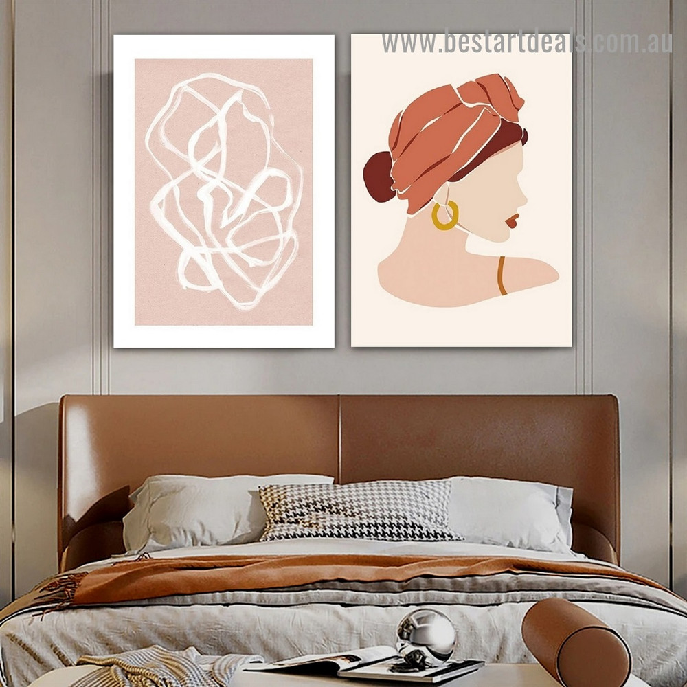 Splay Streaks Abstract Figure Scandinavian Framed Portrait Picture Canvas Print for Room Wall Adorn