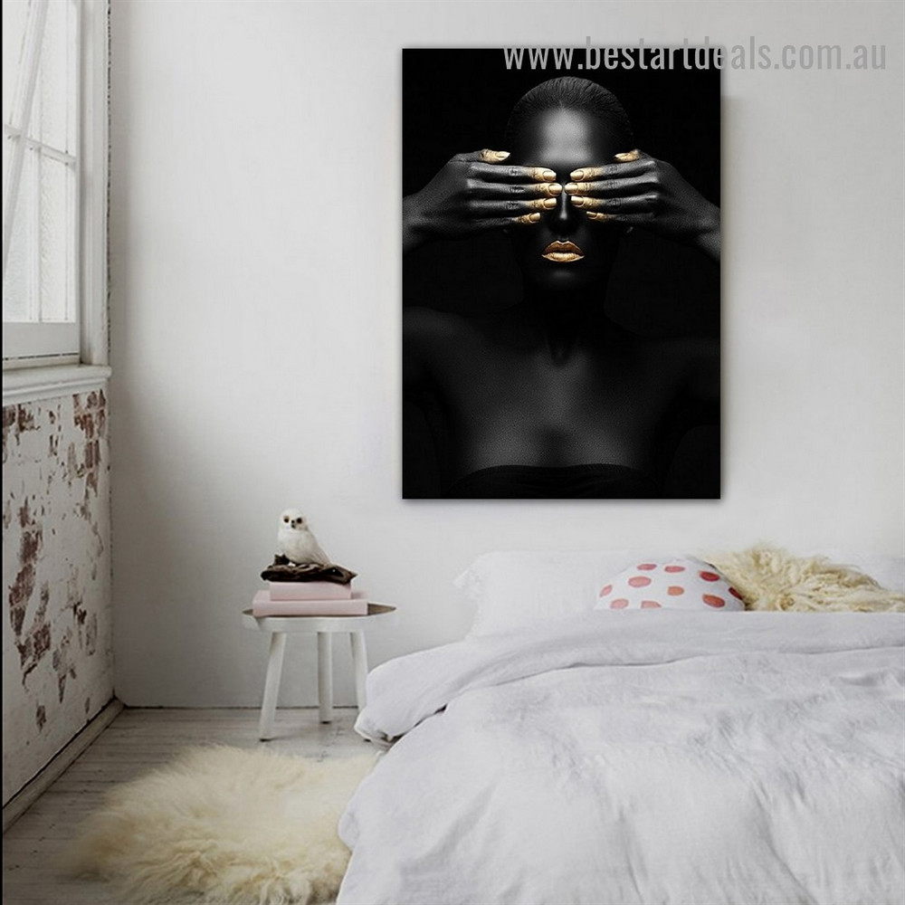 Black Woman Fashion Figure Modern Framed Portrait Image Canvas Print for Room Wall Garnish