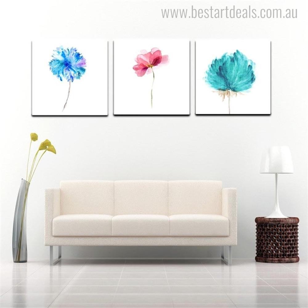 Abstract Flowers Nordic Botanical Modern Watercolor Effigy Picture Canvas Print for Living Room Wall Garniture