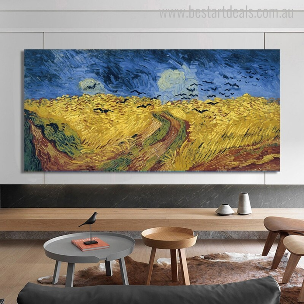 Wheatfield with Crows Vincent Van Gogh Reproduction Painting Canvas Print for Room Wall Ornament