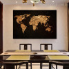 Cosmos Abstract World Map Effigy Photo Canvas Print for Room Wall Decoration