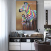 Zebra Colt Abstract Animal Modern Framed Painting Portrait Canvas Print for Living Room Wall Outfit