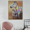 Zebra Colt Abstract Animal Modern Framed Painting Portrait Canvas Print for Room Wall Embellishment