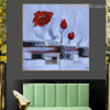 Poppy Buds Botanical Abstract Watercolor Framed Vignette Photo Canvas Print for Wall Decoration