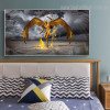 Golden Protector Bird Figure Nature Framed Likeness Image Canvas Print for Bedroom Wall Ornamentation