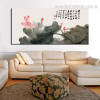 Chinese Lotus Botanical Modern Impressionist Framed Portraiture Image Canvas Print for Room Wall Decor
