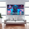 Galaxy Lion Animal Modern Framed Tableau Portrait Canvas Print for Lounge Room Molding