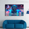 Galaxy Lion Animal Modern Framed Tableau Portrait Canvas Print for Living Room Adornment