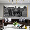 African Jumbos Animal Landscape Framed Painting Portrait Canvas Print for Lounge Room Wall Trimming