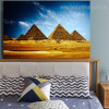 Egyptian Pyramids Landscape Contemporary Framed Smudge Photo Canvas Print for Bedroom Wall Ornamentation