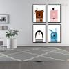 Cute Cartoons Animal Kids Nordic Framed Portmanteau Photo Canvas Print for Room Wall Finery