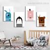 Cute Cartoons Animal Kids Nordic Framed Portmanteau Photo Canvas Print for Room Wall Garnish