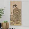 Japanese Dona Vintage Ukiyo E Figure Framed Resemblance Photo Canvas Print for Room Wall Drape