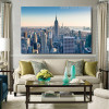 Skyscrapers City Modern Framed Vignette Picture Canvas Print for Room Wall Flourish