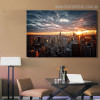 Tower Block Cityscape Modern Framed Painting Photo Canvas Print for Living Room Wall Garnish